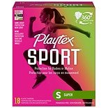 Playtex Sport Tampons with Plastic Applicators Unscented Super, 18 ea