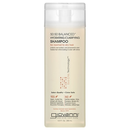 Giovanni 50:50 Balanced Hydrating-Clarifying Shampoo, for Normal to Dry Hair