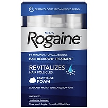 Men's Rogaine 5% Minoxidil Topical Aerosol Hair Regrowth Treatment Foam Unscented