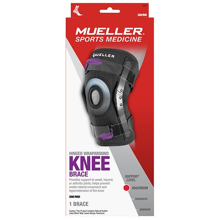 Mueller Sport Care Hinged Knee Brace Regular, Model 6431 One Size Black