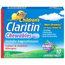 Claritin Children's 24 Hour Allergy Relief Chewable Tablets Grape