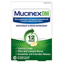 MucinexDM Expectorant and Cough Suppressant, 600mg, Extended-Release Bi-Layer Tablets