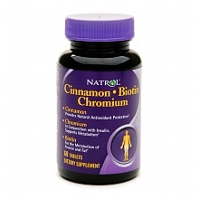 Natrol Cinnamon Biotin Chromium Dietary Supplement Capsules