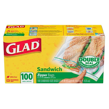 Glad Food Storage Bags, Zipper Sandwich