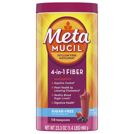 Metamucil Sugar Free 4 in 1 MultiHealth Fiber Powder Supplement Berry Smooth