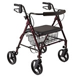 Medline Guardian Bariatric Rollator Heavy Duty Rolling Walker with Wheels Red