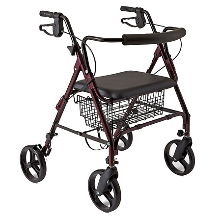 Medline Guardian Bariatric Rollator Heavy Duty Rolling Walker with Wheels Burgundy