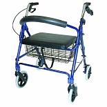 Duro-Med Lightweight Extra-Wide Rollator - 375 lb Weight Capacity Royal Blue