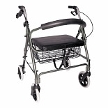 Lightweight Extra-Wide Rollator - 375 lb Weight CapacityTitanium