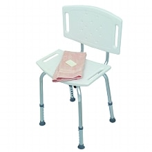 Duro-Med Blow-Molded Bath Seat with Back and Adjustable Legs White