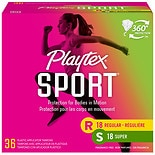 Playtex Sport Tampons, Unscented Multipack 18 Regular, 18 Super