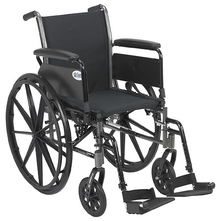 Drive Medical Cruiser III Lightweight Wheelchair w Flip Back Removable Full Arms and Foot Rest 18 Inch