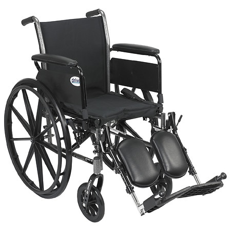 Drive Medical Cruiser III Lightweight Wheelchair w Flip Back Removable Full Arms and Leg Rest 16 Inch