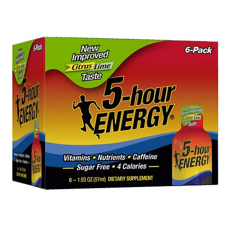 5-Hour Energy Dietary Supplement Shot Citrus Lime, 6 pk