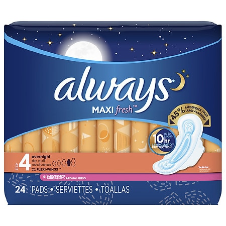 Always Fresh Maxi  Active Pads Overnight with Flexi-Wings Clean Scent