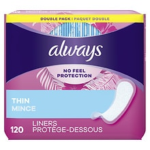 Always Incredibly Thin Daily Liners, Double Pack Regular, 120 ea