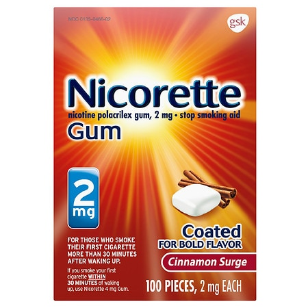 Nicorette Stop Smoking Aid Gum 2 mg Cinnamon Surge Health Fitness Skin Care Beauty Supply Deals
