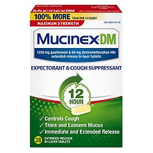 MucinexDM Expectorant & Cough Suppressant, 1200 mg Extended-Release Bi-Layer Tablets