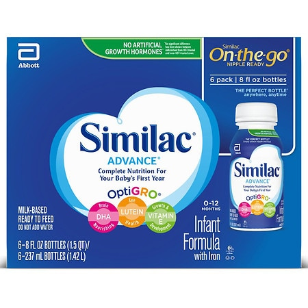 Similac Advance Complete Nutrition, On-the-Go Infant Formula with Iron, Ready to Feed 8 fl oz Bottles
