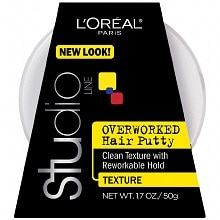 L'Oreal Paris Studio Overworked, Hair Putty Styling Gel, Texture and Control