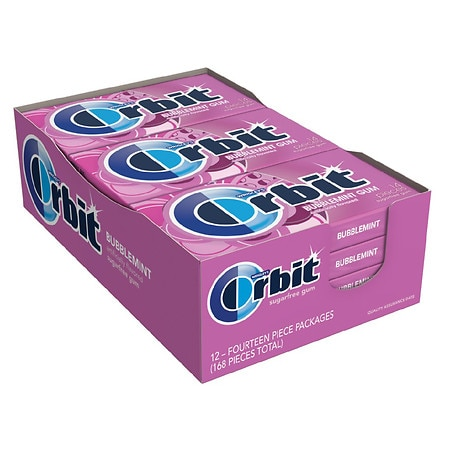 Orbit Sugar Free Gum Bubblemint, 12 pk