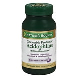 Nature's Bounty Acidophilus with Bifidum, Chewable Probiotic Natural Strawberry