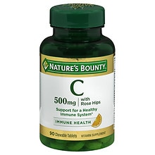 Nature's Bounty Delicious Chewable Vitamin C-500 mg With Rose Hips, Tablets