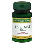 Nature's Bounty Natural Folic Acid 800 mcg Dietary Supplement, Tablets