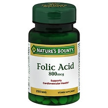 Natural Folic Acid 800 mcg Dietary Supplement, Tablets
