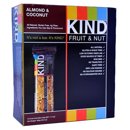 KIND Fruit & Nut Nutrition Bars Almond & Coconut, 12 pk