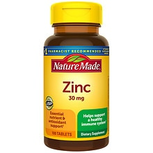 Zinc 30 mg Dietary Supplement Tablets