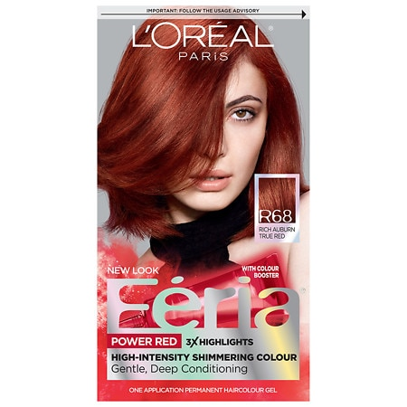 L'Oreal Paris Feria Power Reds Permanent Haircolour Gel Rich Auburn R68