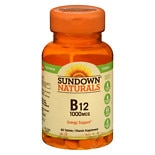 Sundown Naturals B12 1000 mcg Vitamin Supplement Tablets