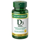 Nature's Bounty D3-1000 IU Dietary Supplements Softgels