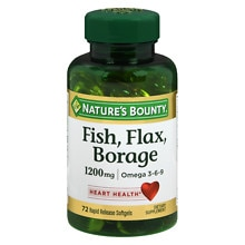 Nature's Bounty Fish, Flax, Borage 1200 mg Dietary Supplement Softgels