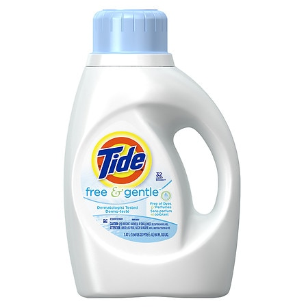 Tide Liquid Detergent, Free & Gentle, 32 Loads Fragrance free, Sensitive Skin