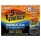 5 Hour Energy Dietary Supplement Shot 6 Pack Orange