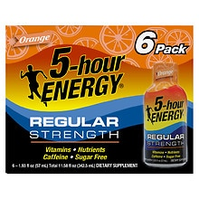 5-Hour Energy Dietary Supplement Shot 6 Pack Orange