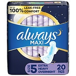 Always Maxi Pads with Wings Unscented,Overnight Extra Heavy