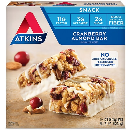 Atkins Day Break Snack Bars, 5 Cranberry Almond