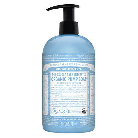 4-IN-1 Sugar Baby Organic Pump Soap Unscented by Dr. Bronner's