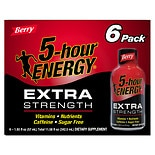 5 Hour Energy Extra Strength Dietary Supplement Shot 6 Pack Berry