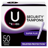 Kotex Natural Balance Security Tampons with Plastic Applicators Unscented,Super Plus