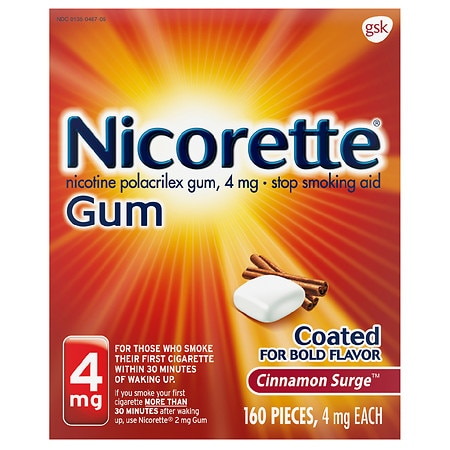 Nicorette Stop Smoking Aid Gum 4 mg Cinnamon Surge Health Fitness Skin Care Beauty Supply Deals