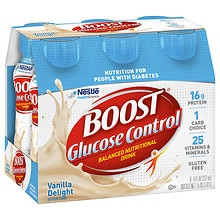 Boost Glucose Control Nutritional Drink, 6-8 Ounce Bottles Very Vanilla