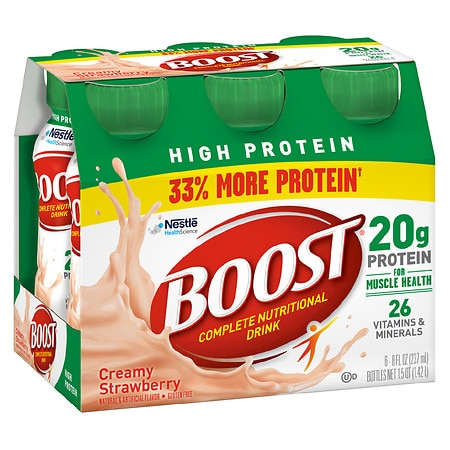 Boost High Protein Complete Nutritional Drink Creamy Strawberry, 8 oz Bottles, 6 pk