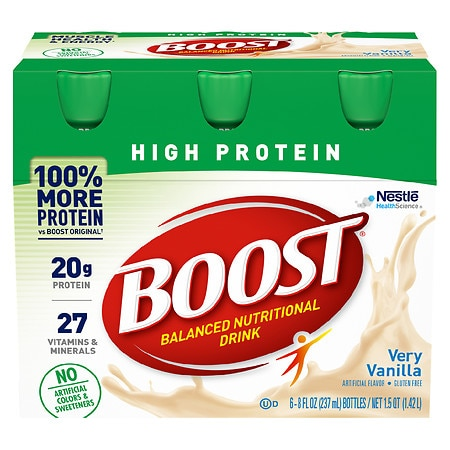 Boost High Protein Complete Nutritional Drink Very Vanilla, 8 oz Bottles, 6 pk