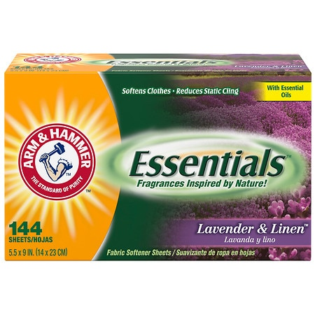Arm & Hammer Essentials Fabric Softener Sheets, Lavender & Linen