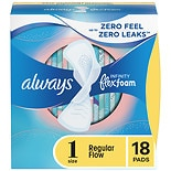 Infinity Pads with Flex-Wings Unscented,Regular, 18 ea
