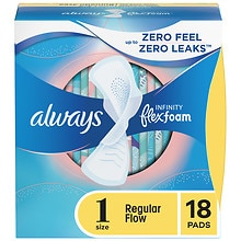 Always Infinity Pads with Flex-Wings Unscented,Regular, 18 ea